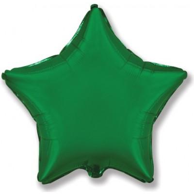 Однотонный фольгированный воздушный шар-звезда зеленый (46 см)