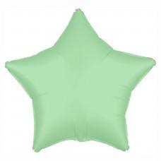 Однотонный фольгированный воздушный шар-звезда мятный сатин (53 см)