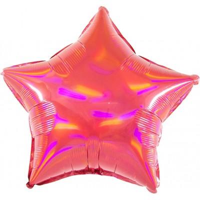 Однотонный фольгированный воздушный шар-звезда Перламутровый блеск рубин голография (46 см)