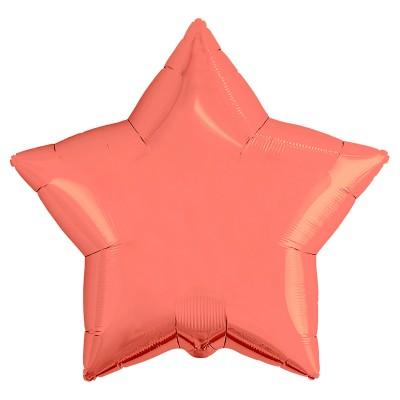 Однотонный фольгированный воздушный шар-звезда коралловый (53 см)