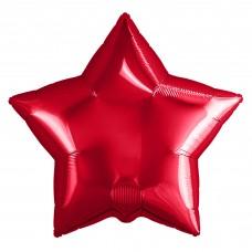 Однотонный фольгированный воздушный шар-звезда красный (53 см)
