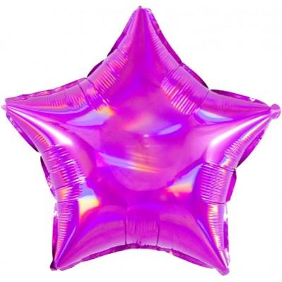 Однотонный фольгированный воздушный шар-звезда Перламутровый блеск фуше голография (46 см)