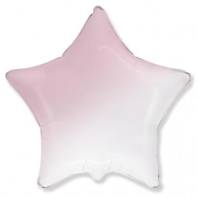 Однотонный фольгированный воздушный шар-звезда розовый градиент (46 см)