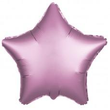 Однотонный фольгированный воздушный шар-звезда розовый сатин (53 см)