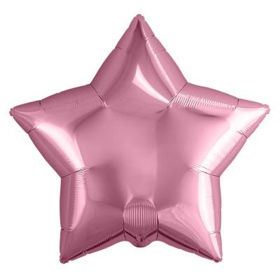 Однотонный фольгированный воздушный шар-звезда Розовый фламинго (53 см)