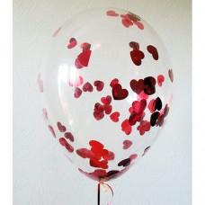 Шар с конфетти Красные сердца