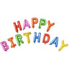"""Набор шаров-букв мини-надпись """"Happy Birthday"""" ассорти (41 см)"""