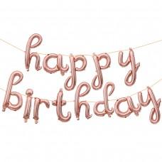 """Набор шаров-букв мини-надпись """"Happy Birthday"""" (изящный курсив) розовое золото (43 см)"""