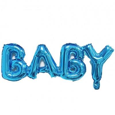 """Шар-фигура надпись """"Baby"""" синий (81 см)"""