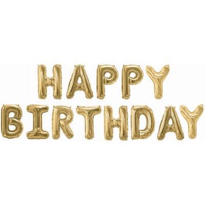 """Набор шаров-букв мини-надпись """"Happy Birthday"""" золото (41 см)"""