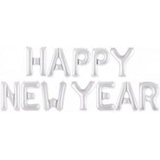 """Набор шаров-букв мини-надпись """"Happy New Year"""" серебро (41 см)"""
