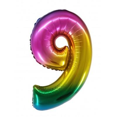 Цифра 9 радужный градиент (86 см)