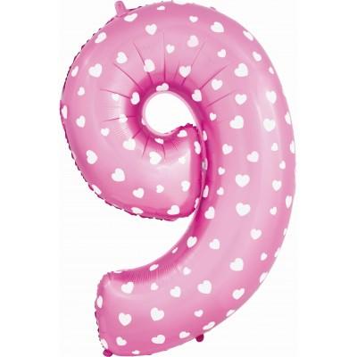 Цифра 9 сердечки розовая (102 см)
