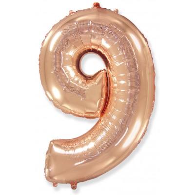 Цифра 9 розовое золото (102 см)