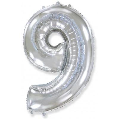 Цифра 9 серебро (102 см)
