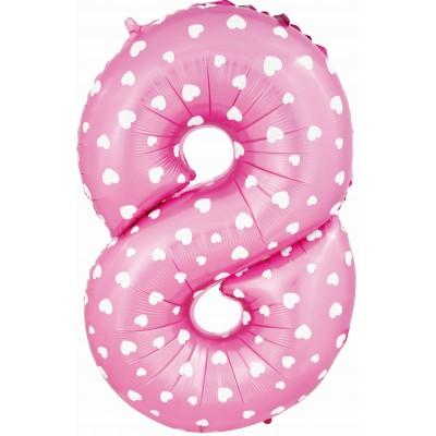 Цифра 8 розовая с сердечками (102 см)