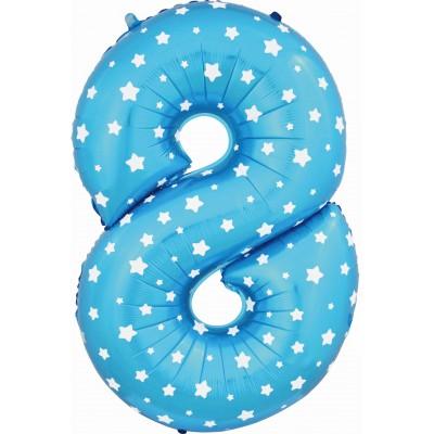 Цифра 8 синяя со звездами (102 см)
