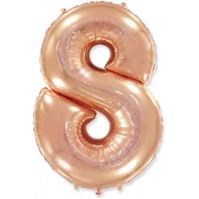 Цифра 8 розовое золото (102 см)