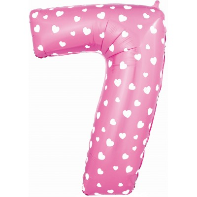 Цифра 7 розовая с сердечками (102 см)