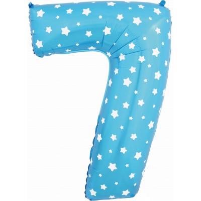 Цифра 7 синяя со звездами (102 см)