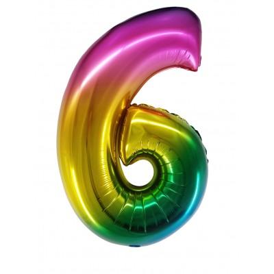 Цифра 6 радужный градиент (86 см)