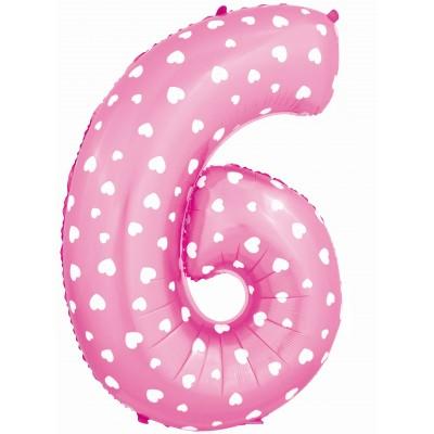 Цифра 6 и 9 розовая с сердечками (102 см)