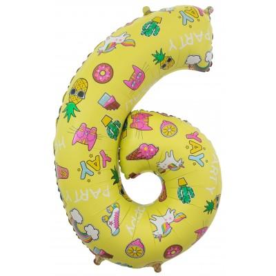 Цифра 6 веселые картинки желтая (86 см)