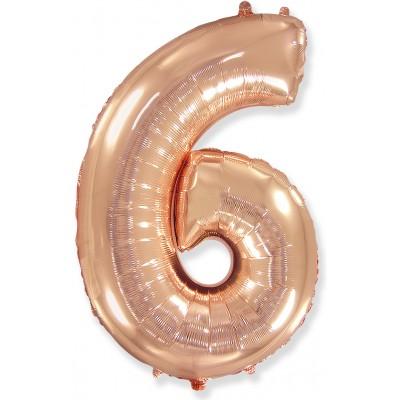 Цифра 6 розовое золото (102 см)