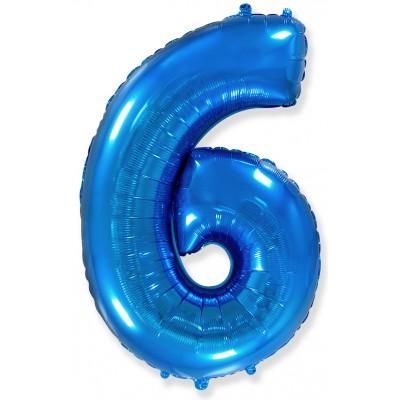 Цифра 6 синяя (102 см)