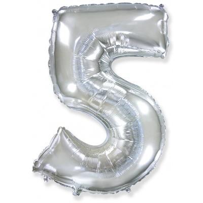 Цифра 5 серебро (102 см)