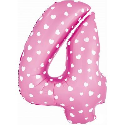 Цифра 4 розовая с сердечками (102 см)