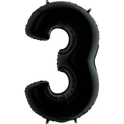 Цифра 3 черная (102 см)