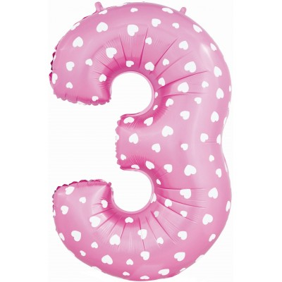 Цифра 3 розовая с сердечками (102 см)