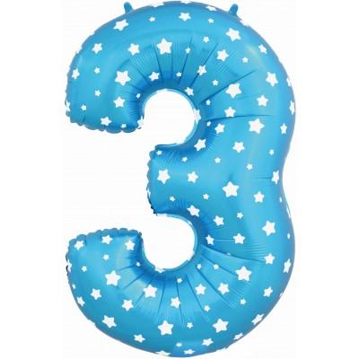 Цифра 3 синяя со звездами (102 см)
