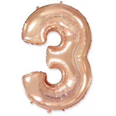 Цифра 3 розовое золото (102 см)