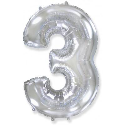 Цифра 3 серебро (102 см)