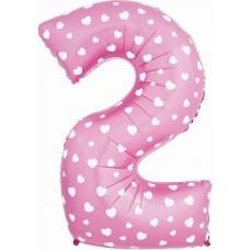 Цифра 2 розовая с сердцами (102 см)