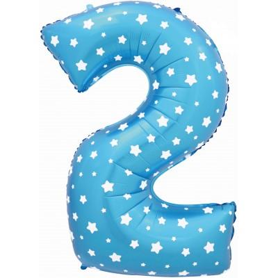 Цифра 2 синяя со звездами (102 см)
