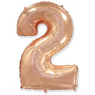 Цифра 2 розовое золото (102 см)