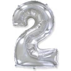Цифра 2 серебро (102 см)