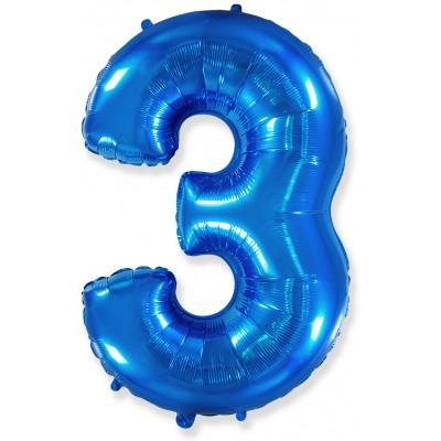 Цифра 3 синяя (102 см)