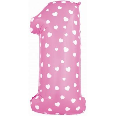 Цифра 1 розовая с сердечками (102 см)