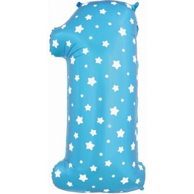 Цифра 1 синяя со звездами (102 см)
