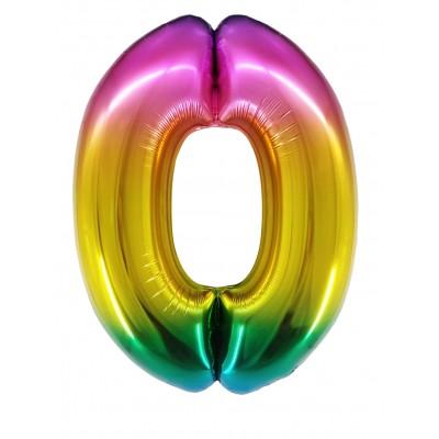 Цифра 0 радужный градиент (86 см)
