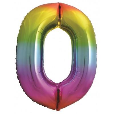 Цифра 0 яркая радуга градиент (86 см)