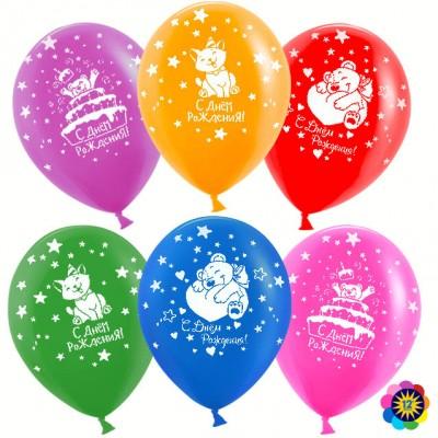 Воздушный шар С Днем Рождения! (милые животные) ассорти пастель (30 см)