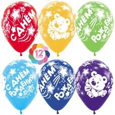 Воздушный шар С Днем Рождения! (мишка) ассорти пастель (30 см)