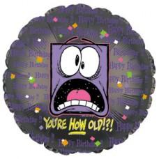Фольгированный воздушный шар-круг Как ты постарел!?! черный (46 см)