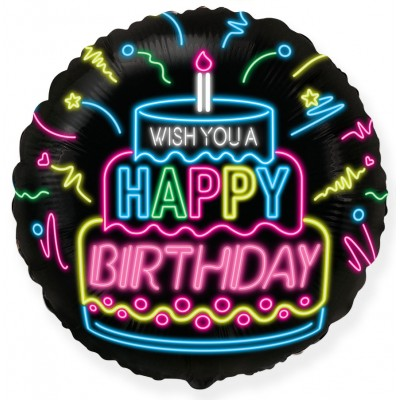 Фольгированный воздушный шар-круг С Днем Рождения (неоновые огни) черный (46 см)