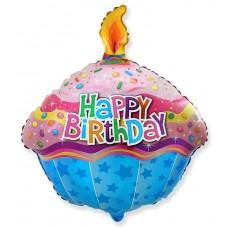 Фольгированный воздушный шар-фигура Кекс со свечкой (58 см)